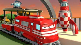 Troy el tren y Rocky el cohete en la Cuidad de Trenes | Dibujos animados para niñas y niños
