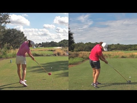 MICHELLE WIE vs LYDIA KO - SYNCED DRIVER GOLF SWING REG & SLOW MOTION DTL 1080p HD