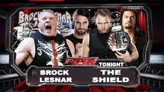 WWE Raw Old School Brock Lesnar Vs The Shield Full Match