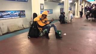 "Subway performer stuns crowd with Fleetwood Mac's ""Landslide""- Chicago, Il- Blue Line, Washington S"