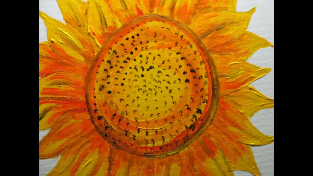 How to paint a sunflower with acrylics youtube for How to paint sunflowers in acrylic