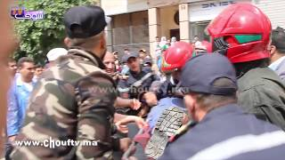 بالفيديو..لحظة نقل عامل البناء الأول اللي طاحت عليه رافعة فحي المعاريف فكازا | بــووز