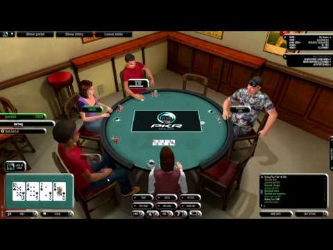 PKR Poker Online: (Play Money) 6 Player Table -  Limit Hold Em' [HD]  Flush Win