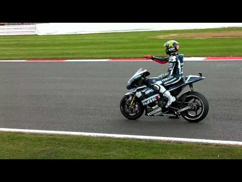 jorge lorenzo stalls his bike during practise at silverstone moto gp 2011