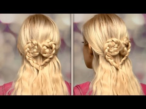 Braided heart hair tutorial Cute half up half down hairstyles for long hair with extensions 2013
