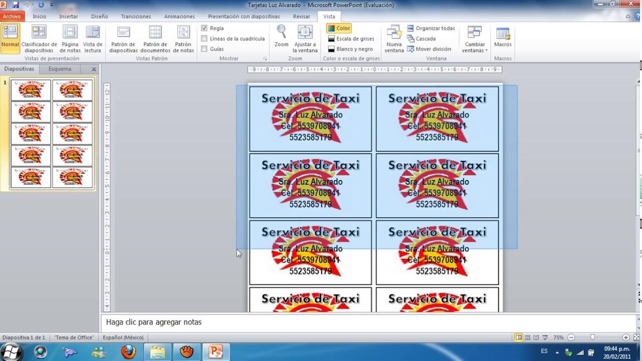 como hacer tarjetas de presentacion en power point