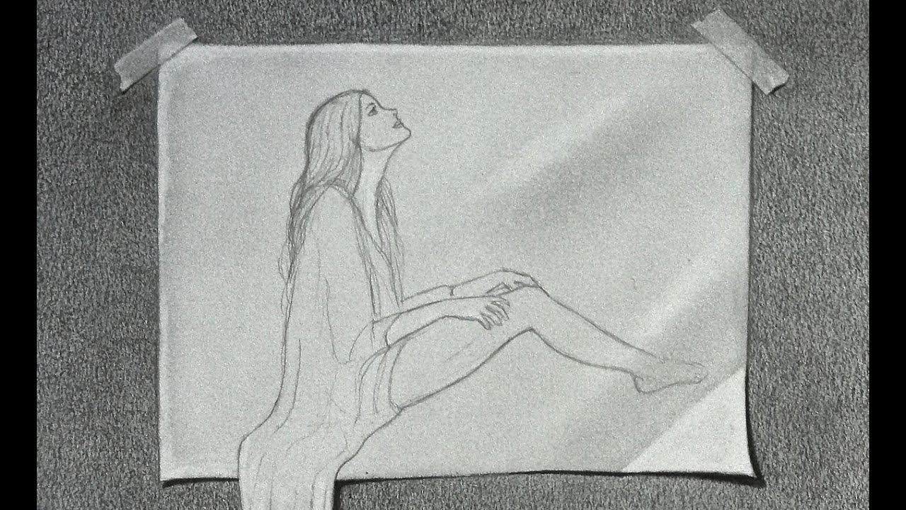 How to draw a 3d effect a female figure sketch on paper - Papel para dibujar ...