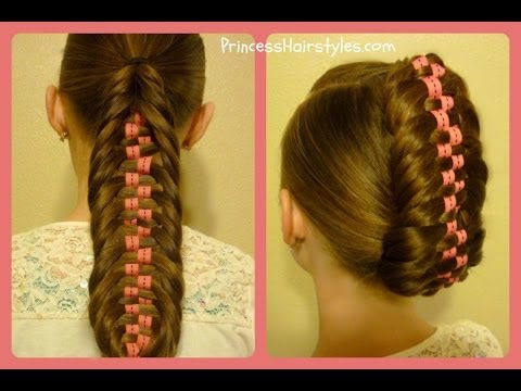 Checkerboard Fishtail Braid Tutorial, Ponytail and Updo ...