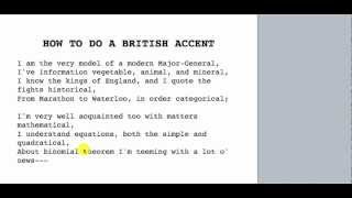 How To Do A British Accent Video