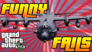 GTA V - FUNNY FAIL MONTAGE - AC130, Tanks & 5 Star Cop Chases (GTA 5 Fails)