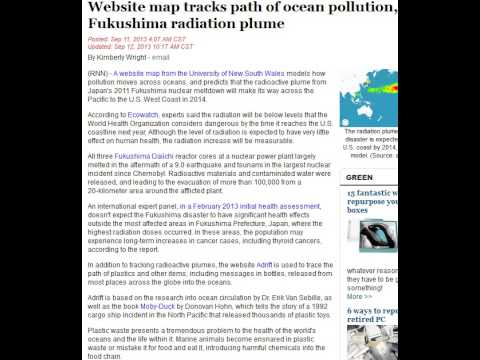 Website map tracks path of ocean pollution, Fukushima radiation plume