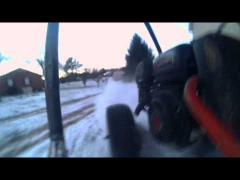 SnoNuts!  Twin Engine Go Kart in the Snow.
