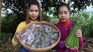Awesome Cooking Prawn And Squid W/ Chive Flower Delicious Recipe - Cook Prawns -Village Food Factory