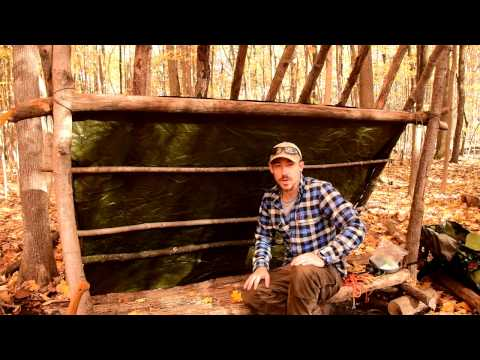 Bushcraft Basecamp E2 - Building the Lean To, Bucksaw Use, Outdoor Cooking.