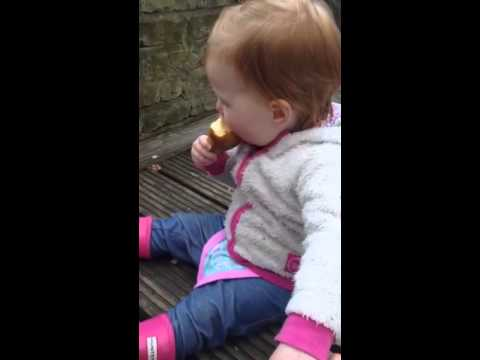 Amalia eating a pear...