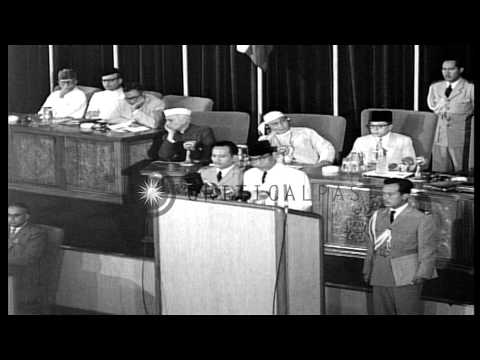 Prersident Sukarno of Indonesiai speaks at the opening ceremony of Asian-African ...HD Stock Footage