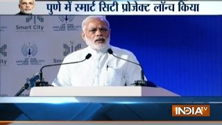 PM Narendra Modi launches smart city project in Pune (Maharashtra)