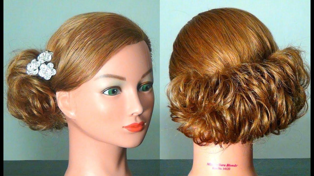 Прическа на волосы средней длины технология