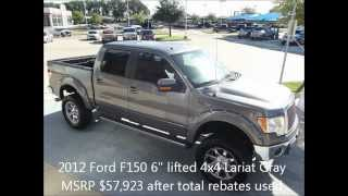 Mud Ready 2012 Ford F150 6 Inch Lifted 4x4 Lariat Gray
