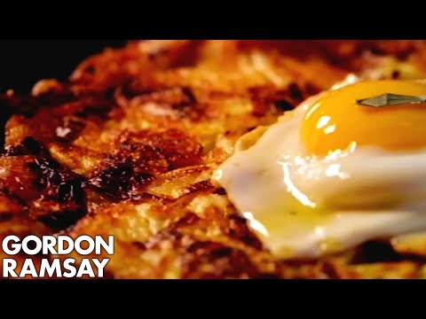 Leek and Gruyere Rosti with Fried Eggs - Gordon Ramsay