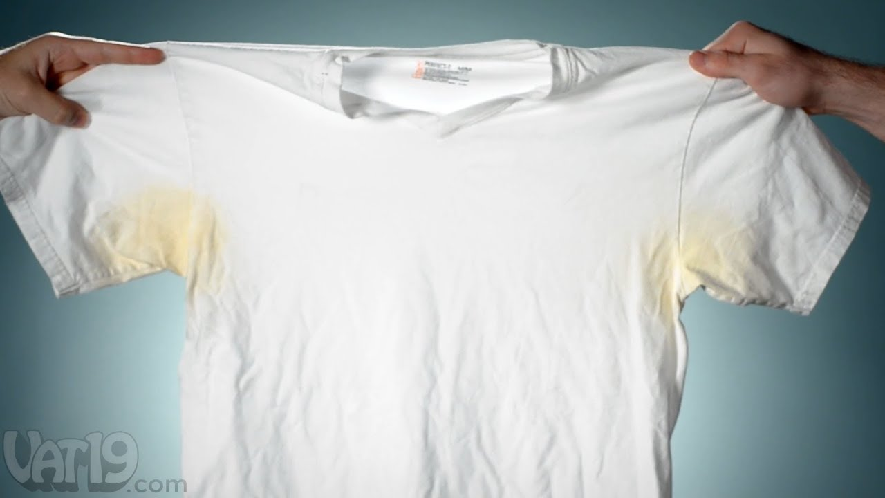 Remove pit stains from shirts with deo go youtube for Removing sweat stains from white shirts