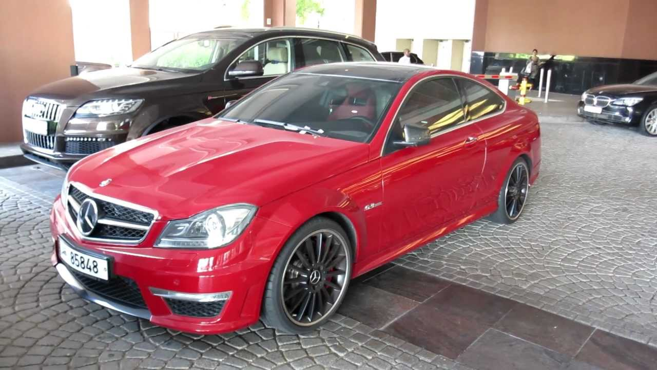 Red c63 amg coupe mercedes benz qatar plates youtube for Mercedes benz qatar