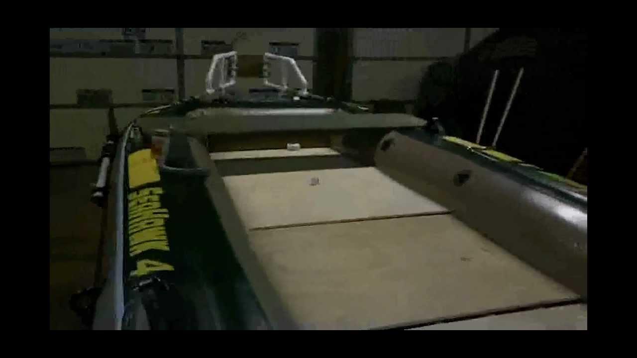 Diy intex seahawk 4 inflatable custom bass boat mod youtube for Wood floor intex excursion 5