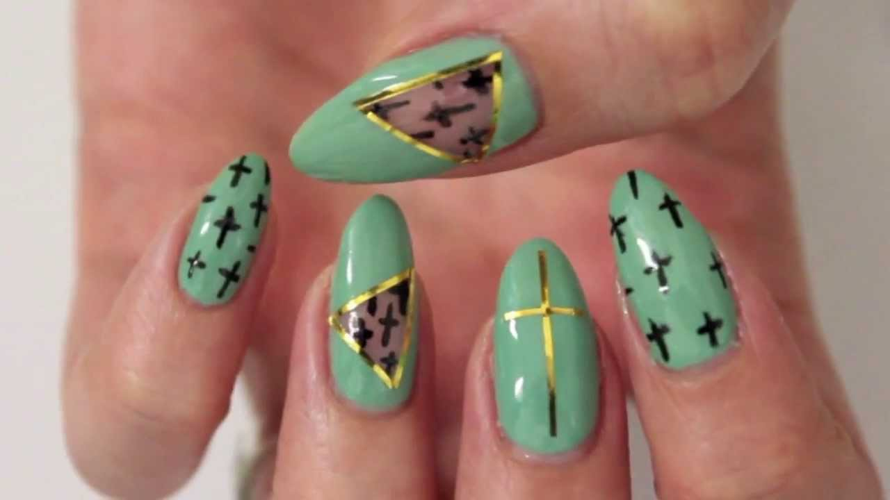 Mint Cut Out Nail Design - YouTube