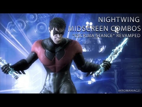 Injustice Nightwing Midscreen Combos Compilation(Escrima Stance) Revamped