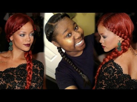 rihanna inspired two braids tutorial youtube