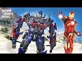 IRONMAN VS OPTIMUS PRIME GTA 5 TRANSFORMERS MOD GTA V MODS