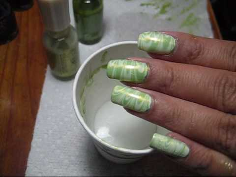 Shades of Green Water Marble Nail Art Tutorial - YouTube