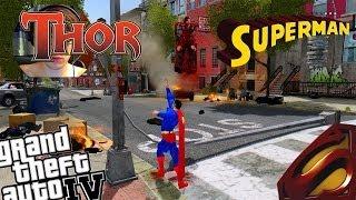 GTA IV Thor Mod + Superman Mod Superman VS Thor! Who