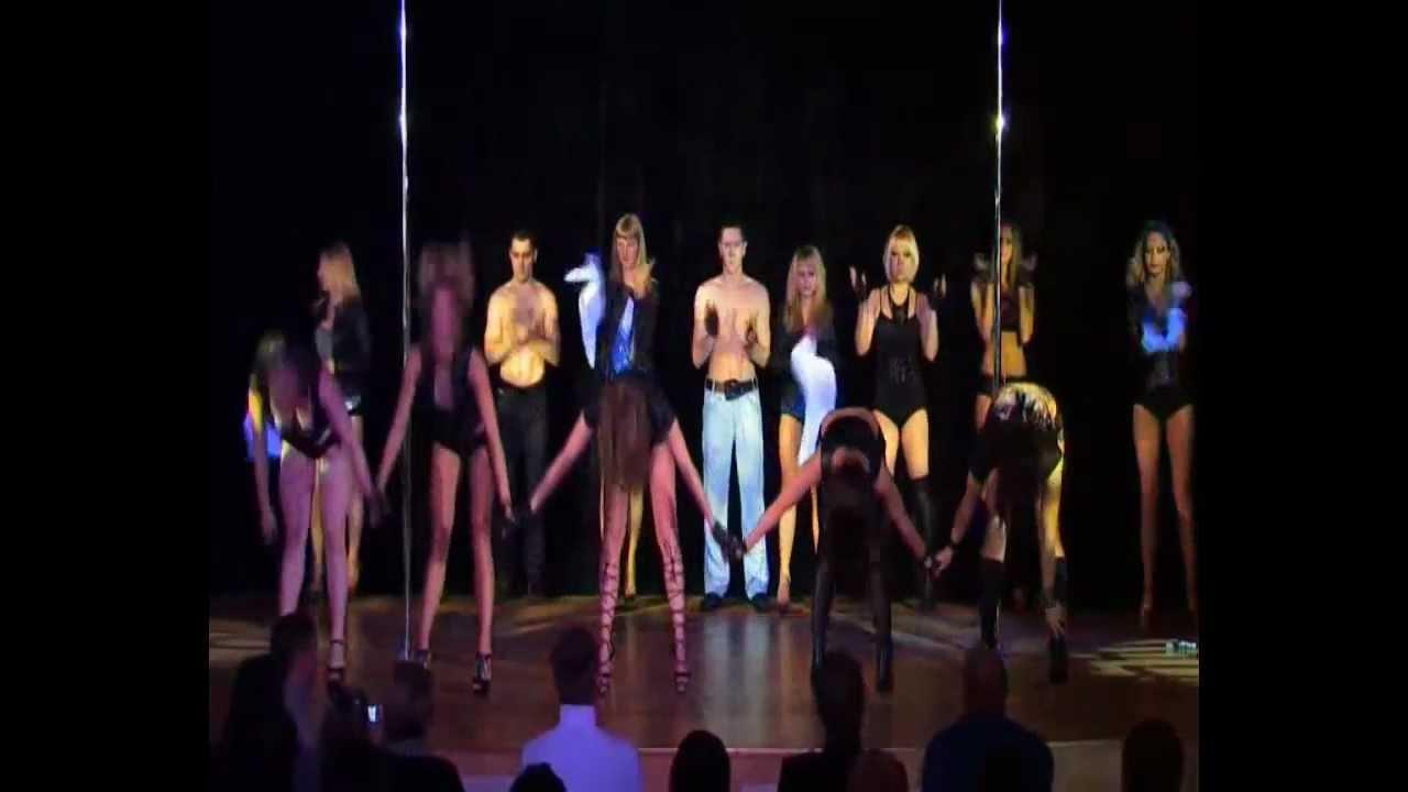 """Отчетный концерт Pole Dance в клубе """"Олимпия"""". Общий номер """"Сюрприз""""."""