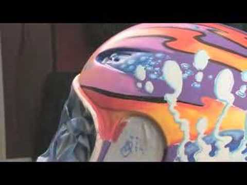 Drew Brophy Paints Motorcycle Helmet