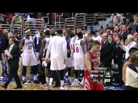 Spencer Hawes tip dunk on Dwight Howard - Rockets @ Sixers - 2013.11.13