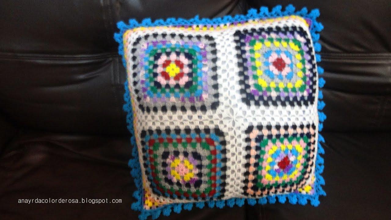 Como tejer un cojin de colores a crochet 1 4 youtube - Cojin de crochet ...