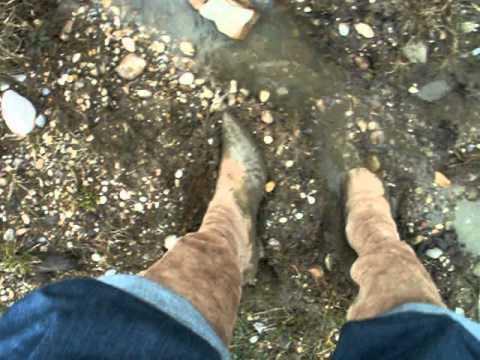 high heel suede boots in mud 1