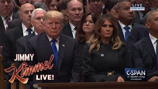 Trump Worried About Mean Comments at Bush Funeral