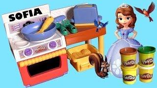 Play Doh Meal Makin' Kitchen Sofia the First Family Baking Fun Disney Princess Make Pizza Tacos!