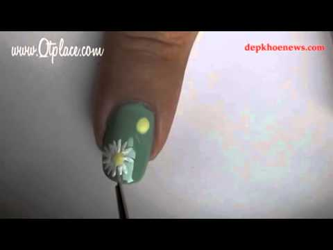 Hướng dẫn vẽ nail kiểu hoa cúc xinh xắn