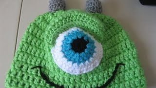 Crochet Green One Eye Monster Hat Video One