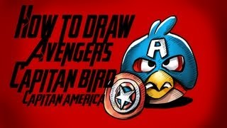 How To Draw Captain Bird (angry Birds) Avengers!!