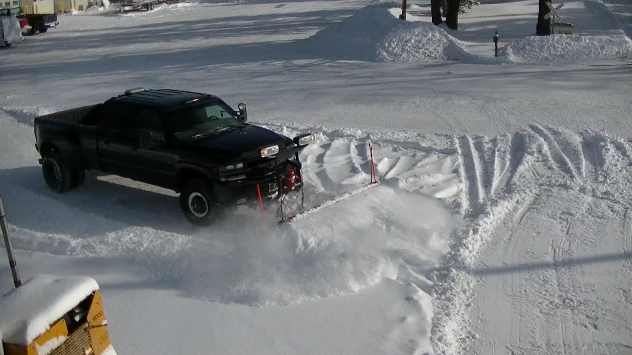 Snow Plowing 02 Chevy Silverado Dually Western Pro Plow