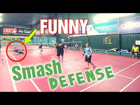 FUNNY-MEN'S DOUBLE BADMINTON SMASH , DEFENSE   lyechailon badminton