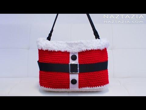 DIY Tutorial - Crochet Christmas Santa Handbag - Purse Tote Bolsa