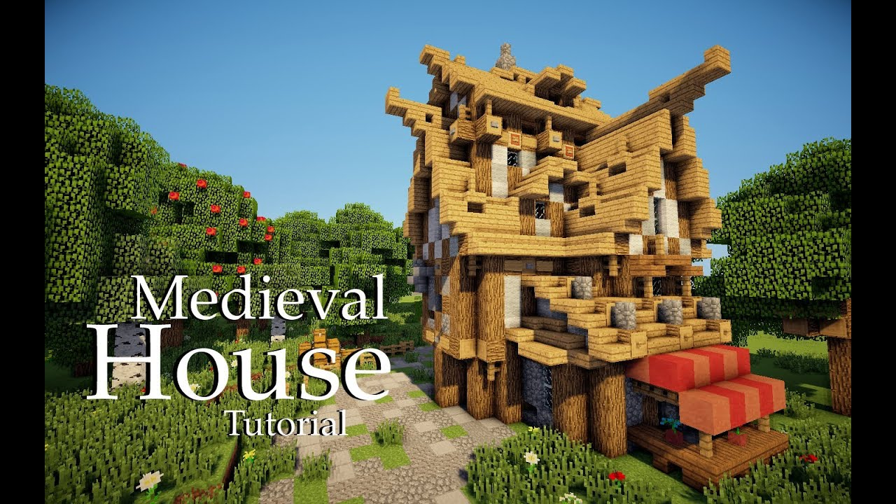 Minecraft medieval house tutorial design 4 youtube for Medieval house design