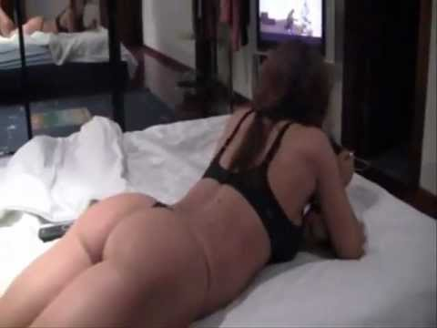 Victoria Lomba in Bed Wearing a Thong