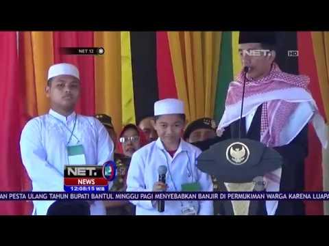 Tantang Siswa Pesantren Lafalkan Pancasila, Presiden Jokowi Hadiahkan Sepeda - NET12