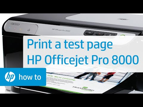 Printing a Test Page - HP Officejet Pro 8000 Printer (A809a)